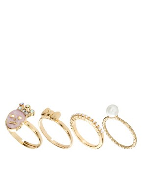 Image 1 ofASOS Pretty Skull Ring Multipack