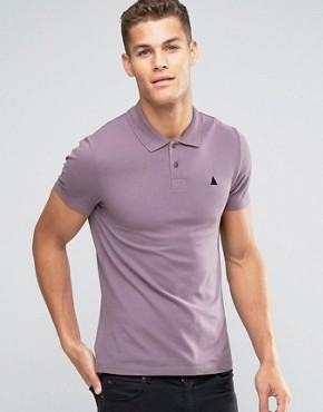 ASOS Muscle Pique Polo Shirt With Embroidery  In Purple