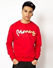 Money Sweatshirt Crew Neck Sig Ape Foil Print