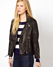 Whistles Dakotta Rib Detail Leather Jacket
