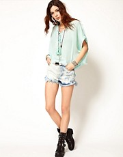 Somedays Lovin Face Off High Waist Shorts in Bleached Denim