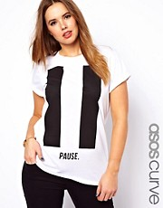 ASOS CURVE Boyfriend T-Shirt with Pause Print