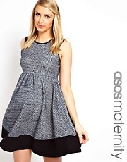 ASOS Maternity Skater Dress in Textured Colour Block
