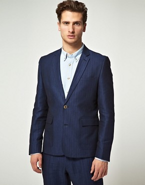 ASOS Slim Fit Suit Jacket in Blue Herringbone Italian Fabric