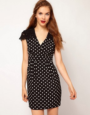 Image 1 ofDarling Spot Wrap Dress with Lace Shoulders