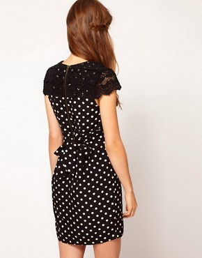 Image 2 ofDarling Spot Wrap Dress with Lace Shoulders