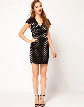 Image 4 ofDarling Spot Wrap Dress with Lace Shoulders