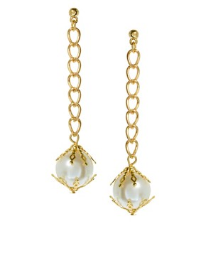 Image 1 ofASOS Filigree Pearl and Chain Drop Earrings