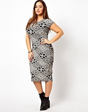 New Look Inspire Bodycon Aztec Jersey Midi Dress