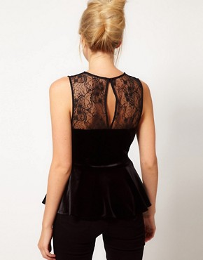 Image 2 ofOasis Velvet &amp; Lace Peplum Top