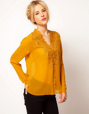 Image 1 ofASOS Blouse With Embroidery And Cutwork