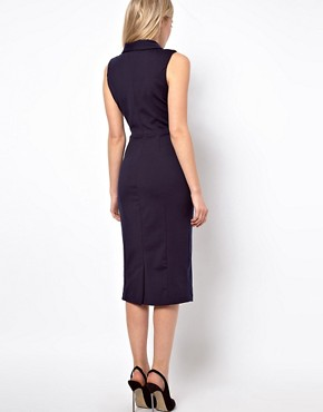 Image 2 ofASOS Pencil Dress in Ponti With Button Detail