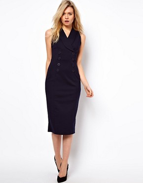 Image 4 ofASOS Pencil Dress in Ponti With Button Detail