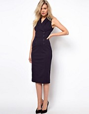 ASOS Pencil Dress in Ponti With Button Detail
