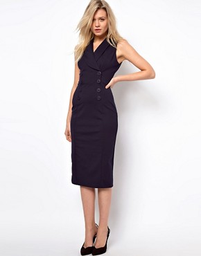 Image 1 ofASOS Pencil Dress in Ponti With Button Detail
