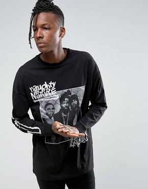ASOS Naughty By Nature Oversized Band Long Sleeve T-Shirt With Retro Print