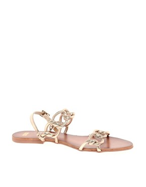 Image 1 ofASOS FRANCE Leather Flat Sandals