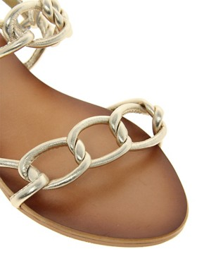 Image 2 ofASOS FRANCE Leather Flat Sandals