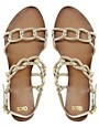 Image 3 of ASOS FRANCE Leather Flat Sandals