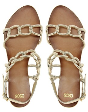 Image 3 ofASOS FRANCE Leather Flat Sandals