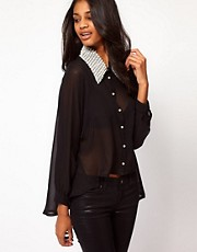 Rare Chiffon Pearl Collar Batwing Blouse