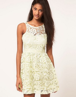Image 1 ofLipsy Waxed Lace Prom Dress