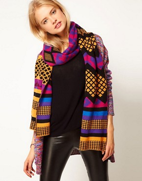 Image 1 ofASOS Mixed Spot + Leopard Scarf
