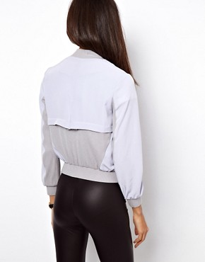 Image 2 ofASOS PETITE Exclusive Soft Bomber With Jersey Inserts