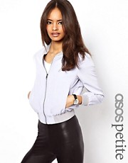ASOS PETITE Exclusive Soft Bomber With Jersey Inserts