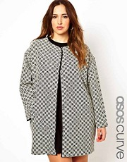 ASOS CURVE Coat In Geo Pattern