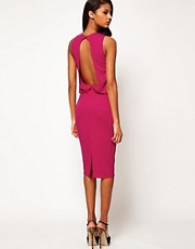ASOS Midi Dress With Drape Top And Open Back