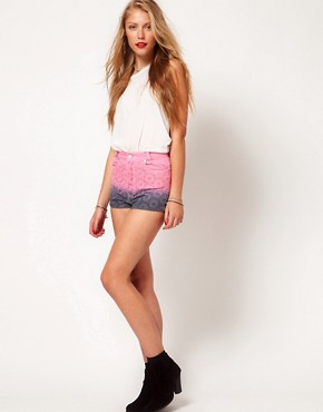 Image 1 of Minkpink 'Sunrise Sunet' Dip Dye Lace Shorts
