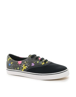 Image 1 ofASOS Plimsolls With Paint Splatter Print
