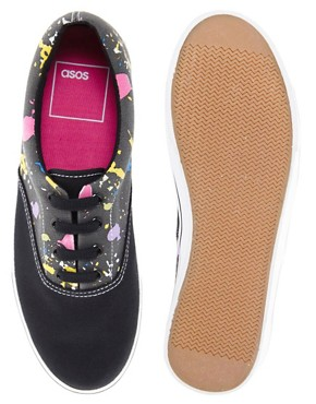 Image 2 ofASOS Plimsolls With Paint Splatter Print