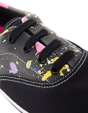 Image 3 ofASOS Plimsolls With Paint Splatter Print