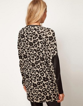 Image 2 ofASOS Tunic in Animal Print with PU Detail