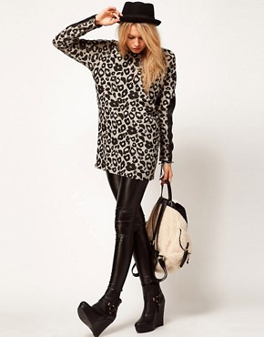 Image 4 ofASOS Tunic in Animal Print with PU Detail