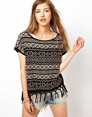 Denim &amp; Supply By Ralph Lauren Embroidered Fringed Top