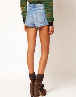 Image 2 ofASOS High Waisted Denim Knicker Shorts in Vintage Blue