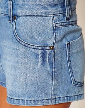 Image 3 of ASOS High Waisted Denim Hot Pants in Vintage Blue