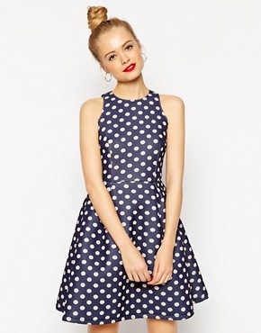 ASOS Premium Bonded Mini Skater Dress in Polka Dot
