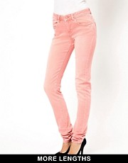 ASOS Elgin Supersoft Skinny Jeans in Washed Coral