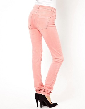 Image 2 ofASOS Elgin Supersoft Skinny Jeans in Washed Coral