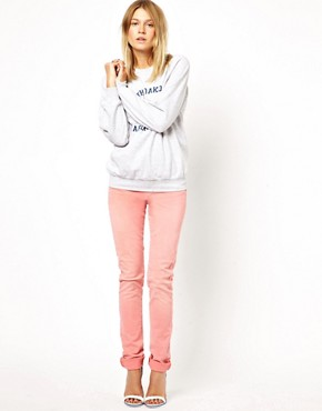 Image 4 ofASOS Elgin Supersoft Skinny Jeans in Washed Coral
