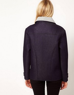 Image 2 ofASOS Biker Jacket in Bonded Denim