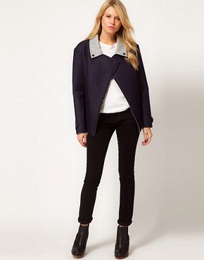 Image 4 ofASOS Biker Jacket in Bonded Denim