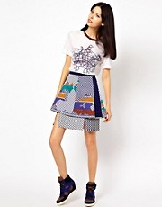 Ostwald Helgason Layered Skirt in Graphic Links Print