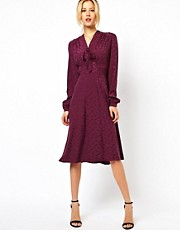 ASOS Midi Dress With Pussybow In Dragon Jacquard