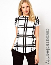 ASOS Maternity Exclusive T-Shirt in Pixelated Check