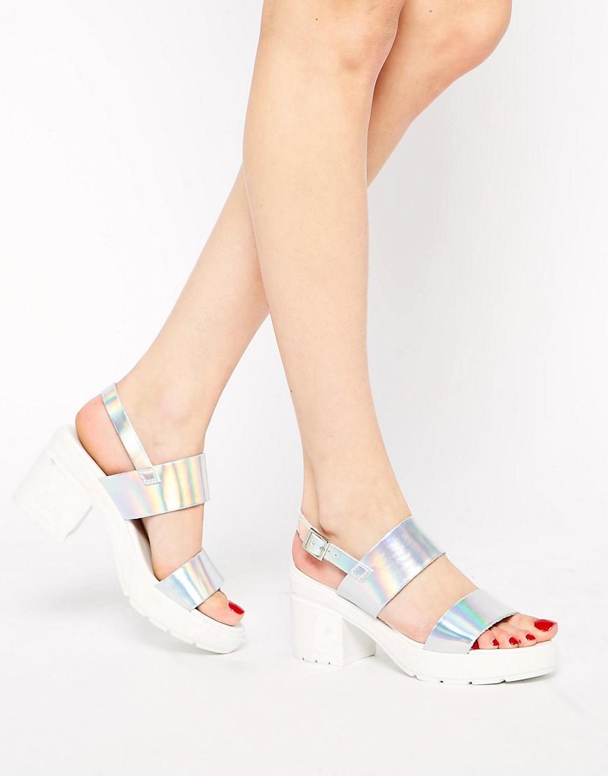 Image 1 ofASOS HAT TRICK Leather Heeled Sandals